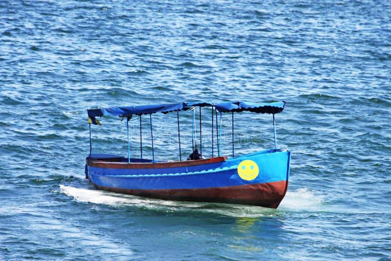 Little blue boat in Sevastopol stock photography