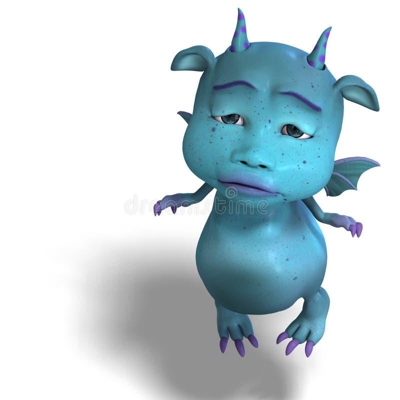 Little blue cute toon dragon devil stock illustration