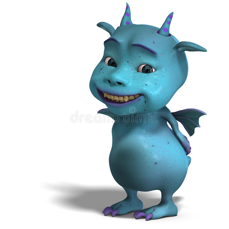 Little blue cute toon dragon devil vector illustration