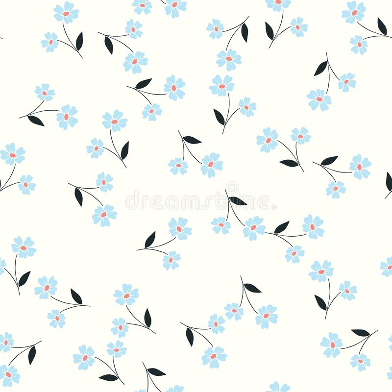 Little blue flowers toss vector seamless repeat pattern stock illustration