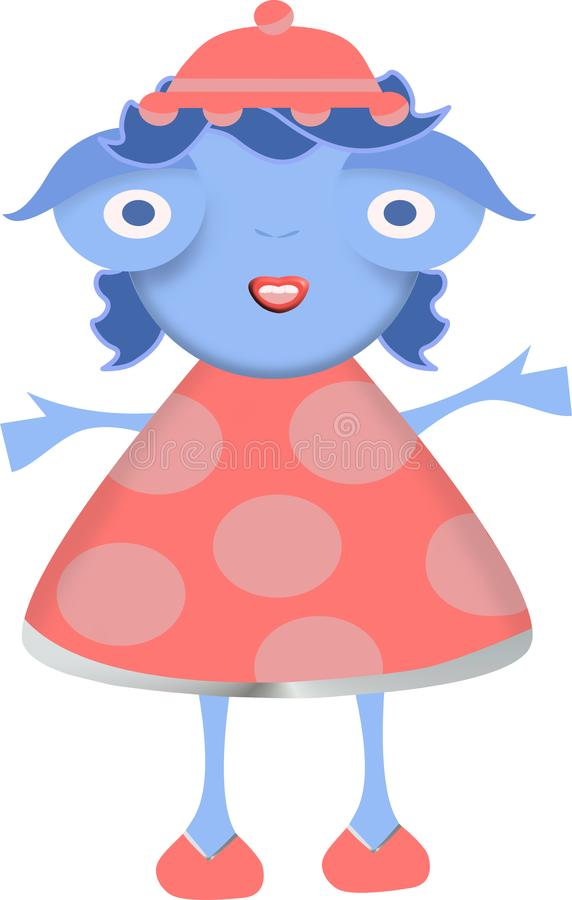 Little blue girl with red hat and red dress stock image