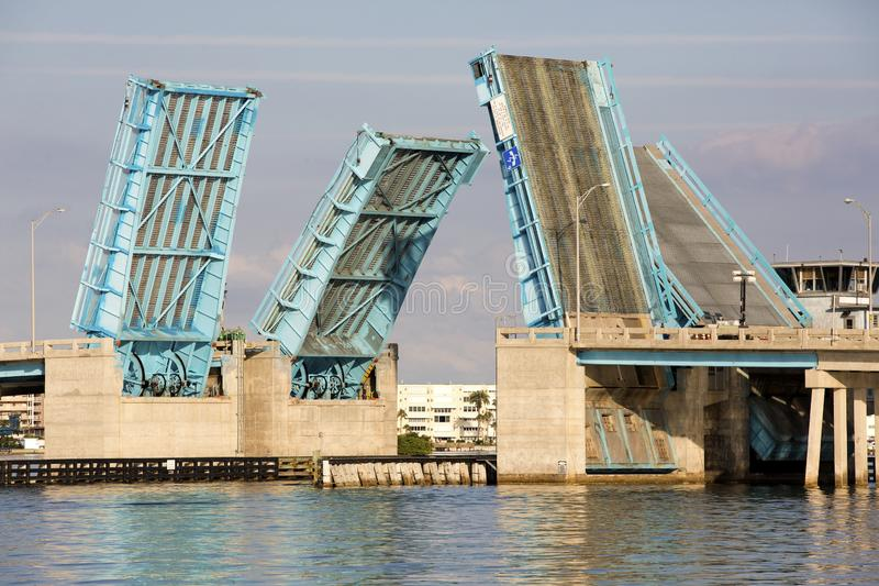 Drawbridge over Boca Ciega Bay near St. Pete Beach, Florida. Nice photo of the Pasadena Ave drawbridge over Boca Ciega Bay near St. Pete Beach, Florida royalty free stock photography