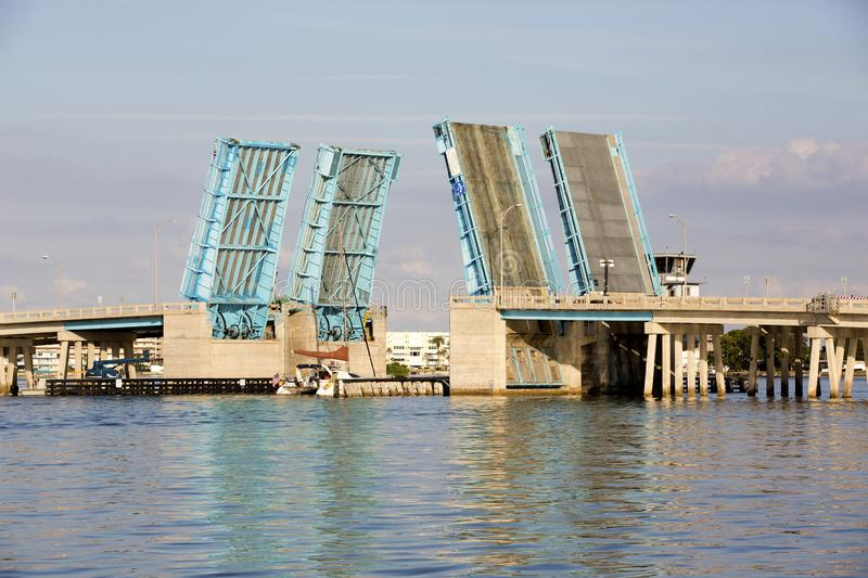 Drawbridge over Boca Ciega Bay near St. Pete Beach, Florida. Nice photo of the Pasadena Ave drawbridge over Boca Ciega Bay near St. Pete Beach, Florida royalty free stock photo