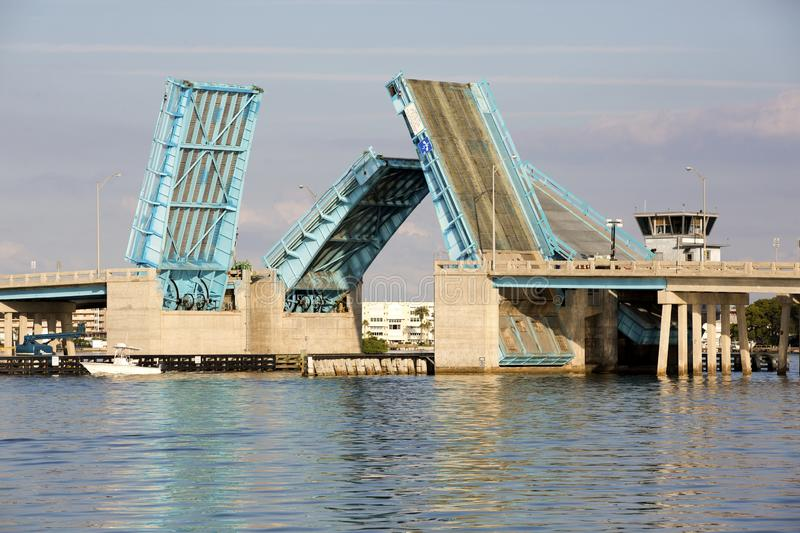 Drawbridge over Boca Ciega Bay near St. Pete Beach, Florida. Nice photo of the Pasadena Ave drawbridge over Boca Ciega Bay near St. Pete Beach, Florida stock images