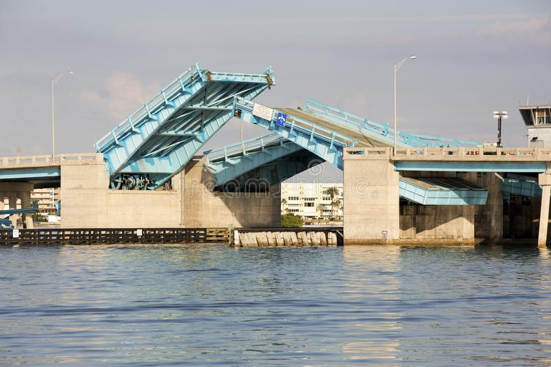 Drawbridge over Boca Ciega Bay near St. Pete Beach, Florida. Nice photo of the Pasadena Ave drawbridge over Boca Ciega Bay near St. Pete Beach, Florida stock photo