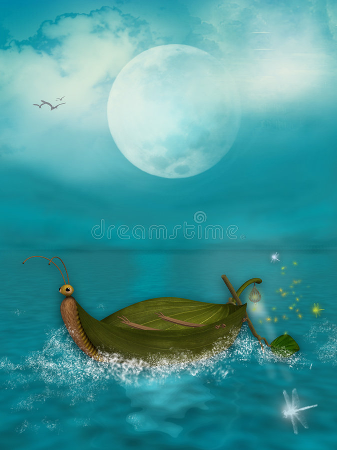 Download The Little Boat stock illustration. Image of waves, fireflies - 7092854