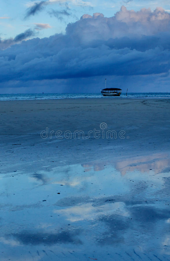 Download Little Boat On A Low Tide Wild Beach Stock Image - Image of south, fish: 19247547