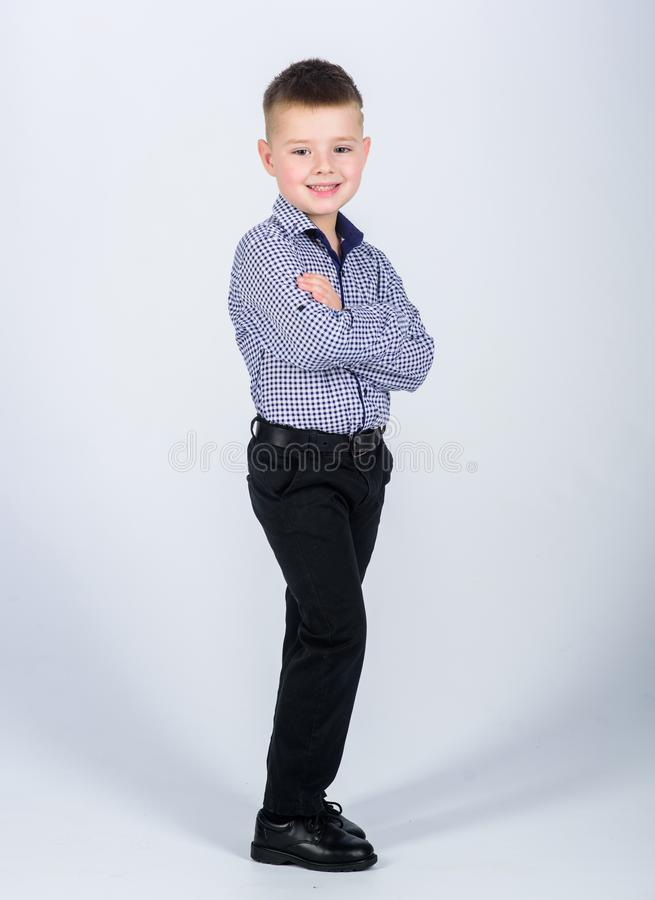 Little boss. Ceo direstor. confident child with business start up. Modern life. Business owner. small boy with business. Look. Businessman. Office life royalty free stock image