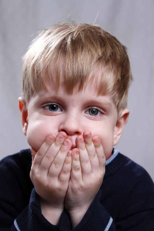 Download Little boy stock image. Image of frightened, blind, afraid - 24057775