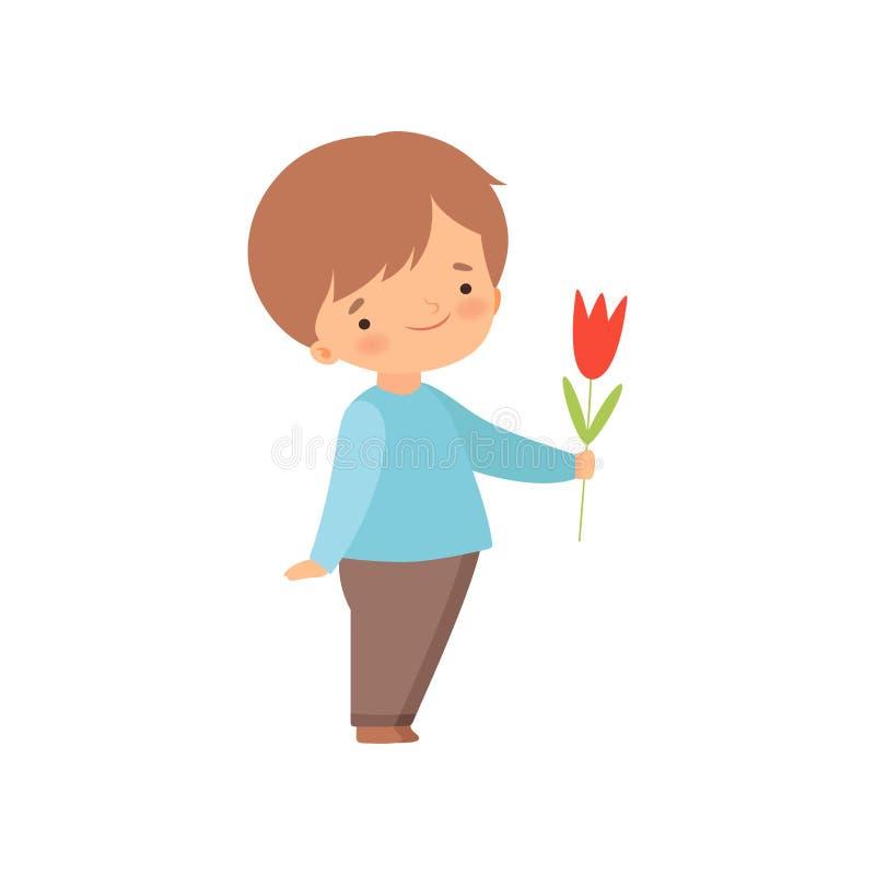 Little Boy adorable que da a Tulip Flower Cartoon Vector Illustration roja ilustración del vector