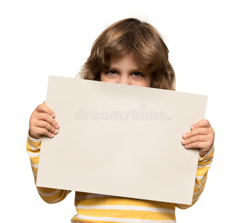 Little boy with advertising banner stock image