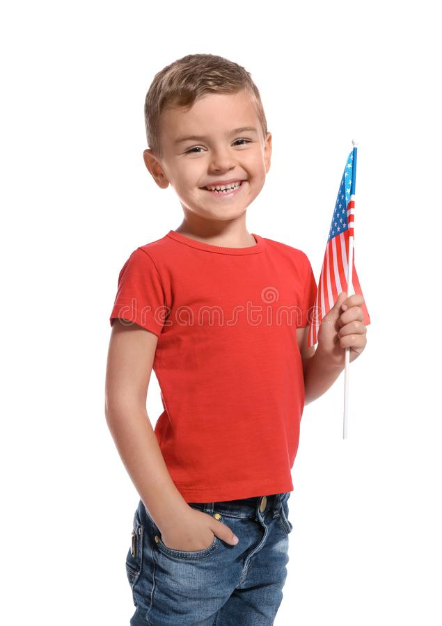 Little boy with American flag. On white background royalty free stock images