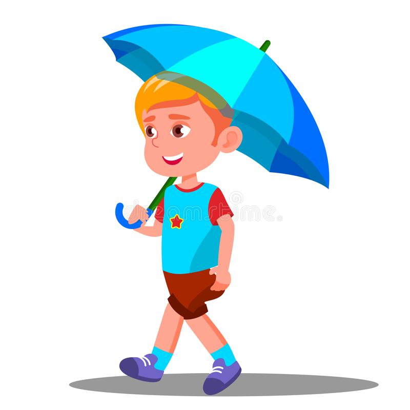 Little Boy anda com um guarda-chuva azul aberto em seu vetor da mão Ilustração isolada ilustração stock