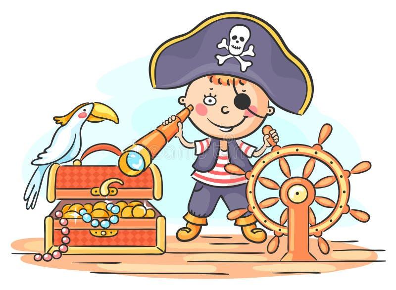 Little Boy att spela piratkopierar royaltyfri illustrationer