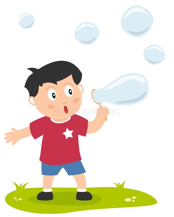 Little Boy avec des bulles de savon illustration stock