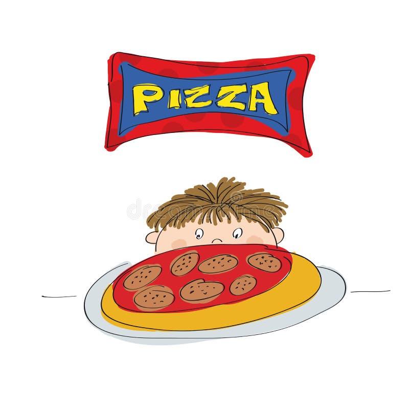 Little Boy avec la pizza illustration libre de droits