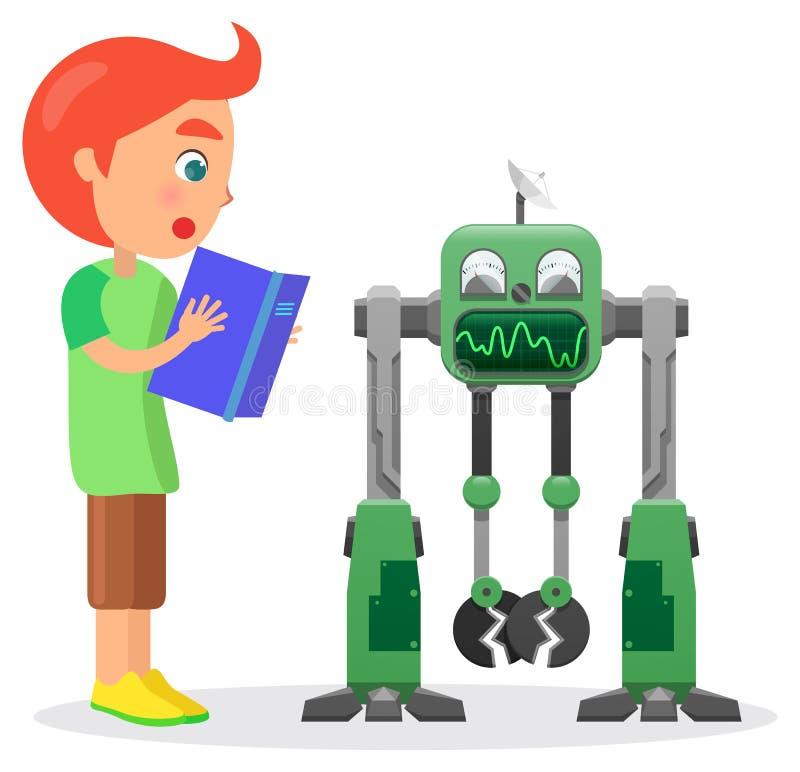 Little Boy avec le livre regarde l'illustration de robot illustration de vecteur