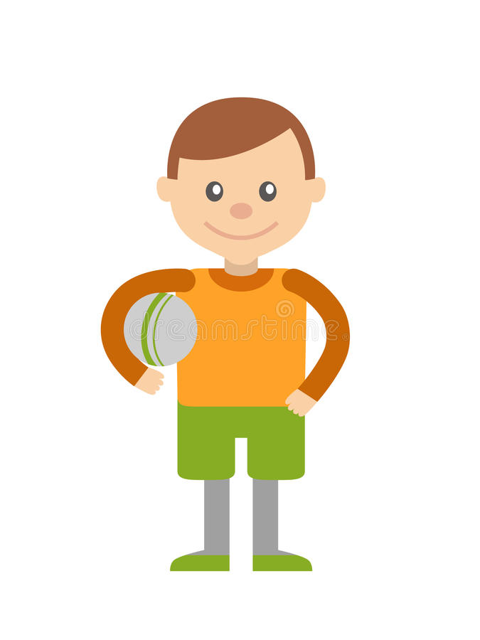 Little boy with ball in hand. royalty free illustration