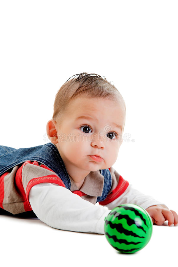 Little boy with ball stock photography