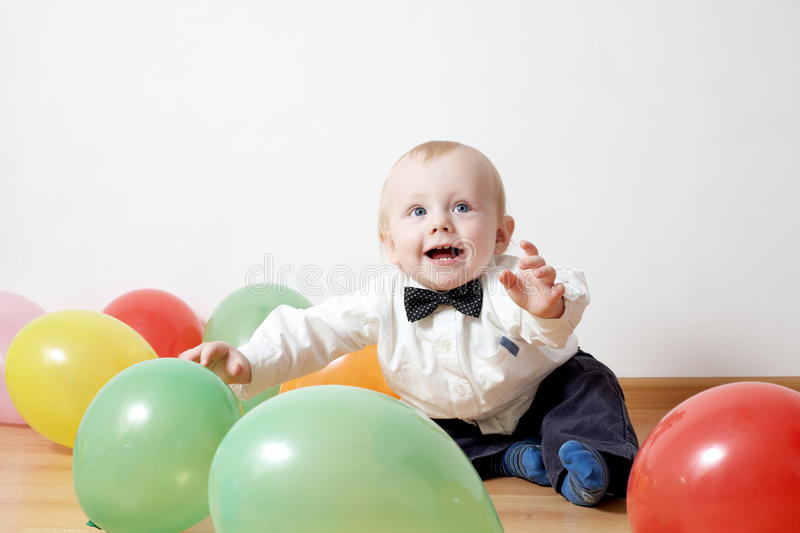Little Boy With Baloon Stock Photography