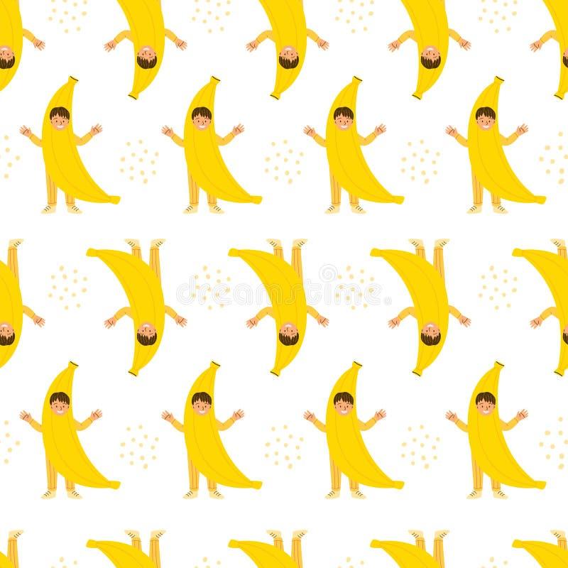 Little boy in banana costume pattern. Little boy in banana costume flat vector seamless pattern. Kids fruit clothing for kindergarten performance, show stock illustration