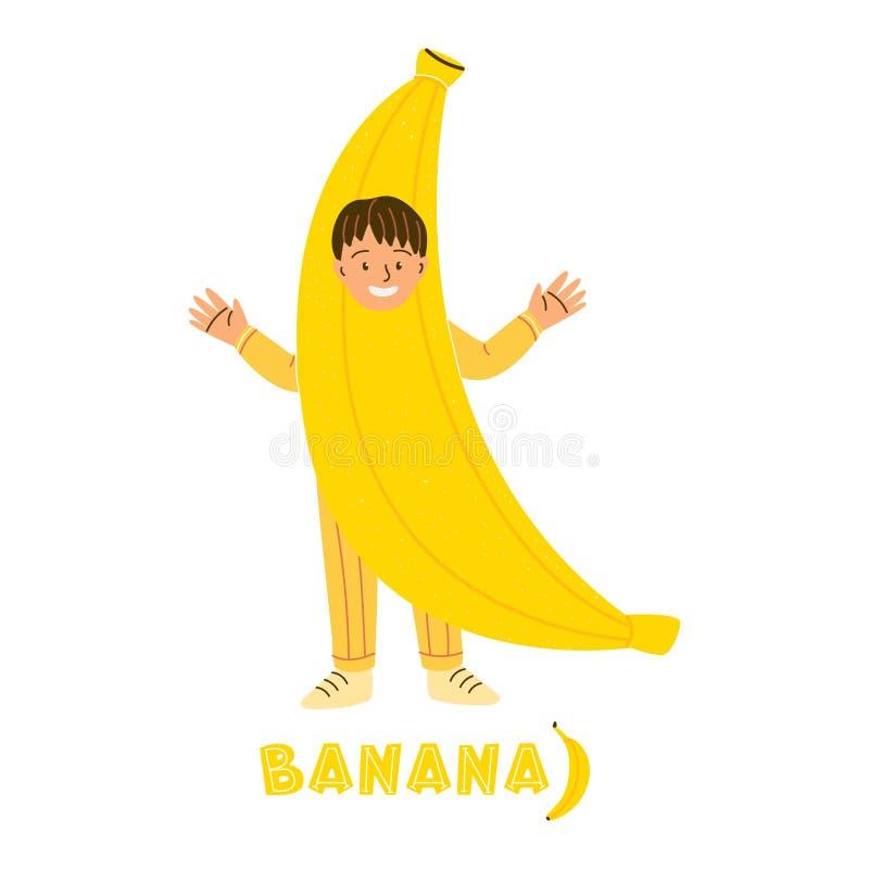 Little boy in banana fruit costum. Little boy character in banana fruit costume. Kid dressed for kindergarten, school performance, show, carnival. Tropical fruit royalty free illustration