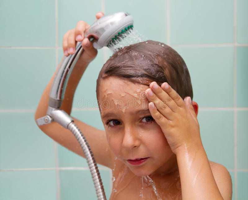 Download Little boy is bathed stock image. Image of white, fondness - 25469907