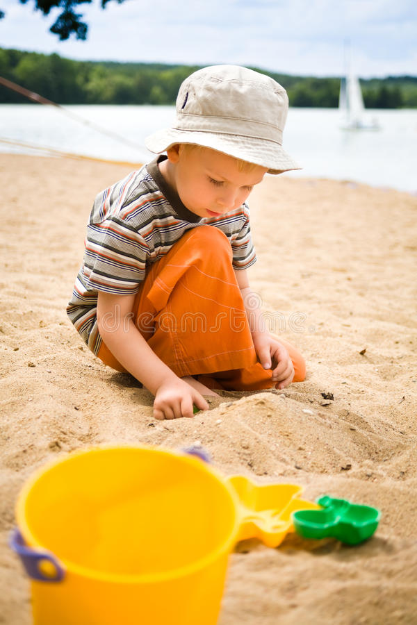 Little boy on beach royalty free stock image