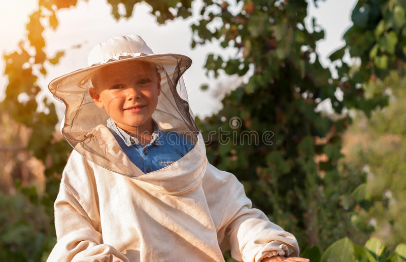 Little boy beekeeper works on an apiary at hive.  royalty free stock image