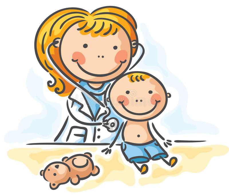 Little boy is being examed by the doctor stock illustration