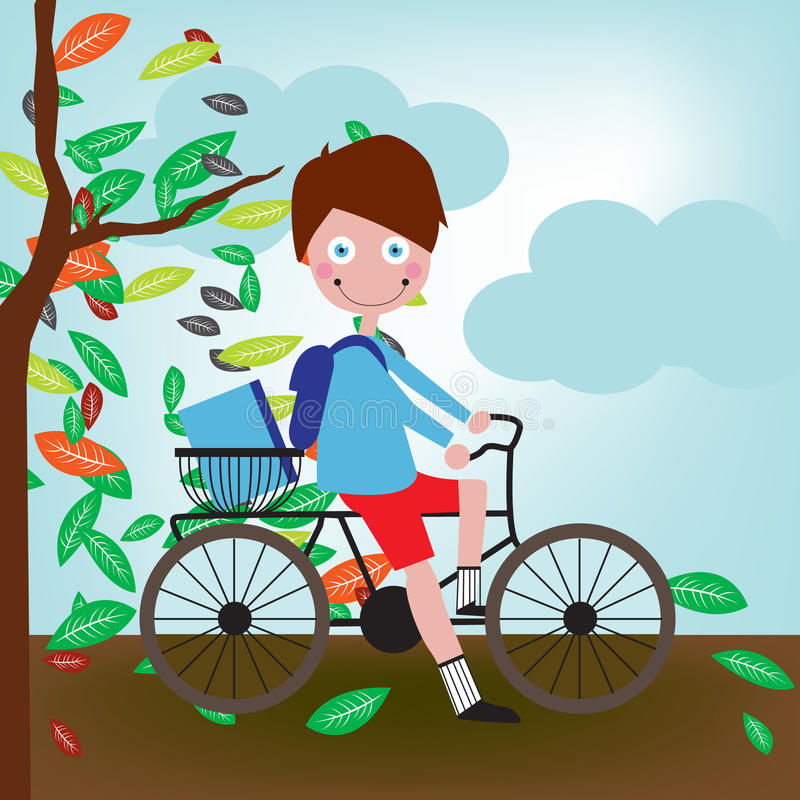 Little boy with bicycle royalty free illustration
