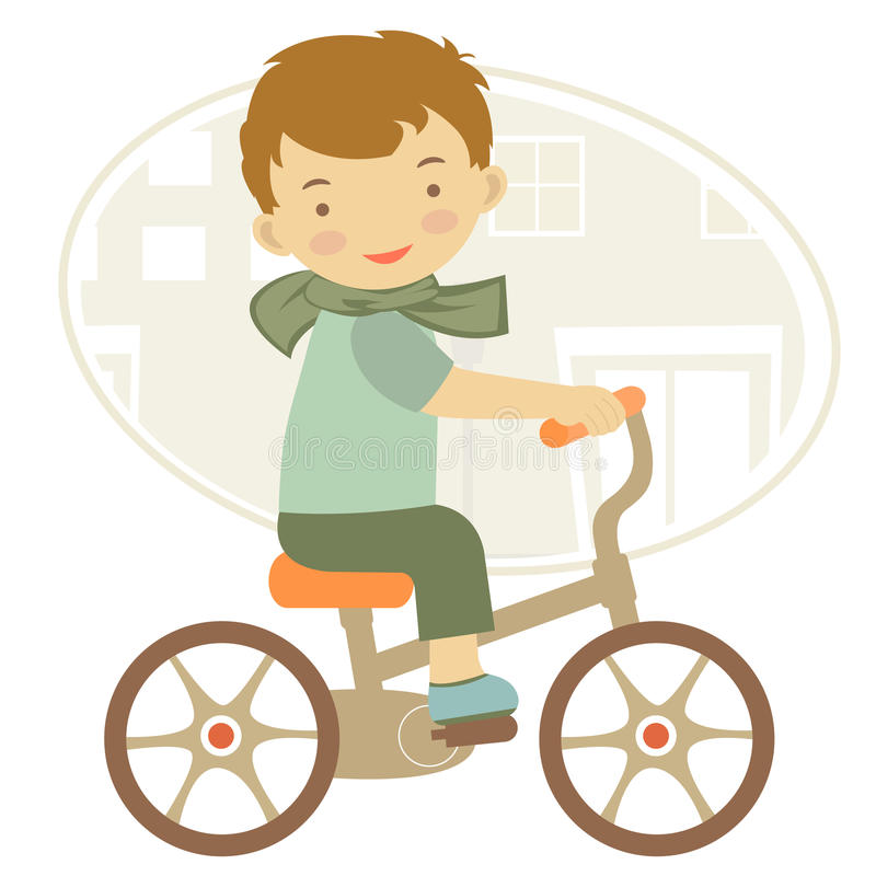 Little boy on bicycle royalty free illustration