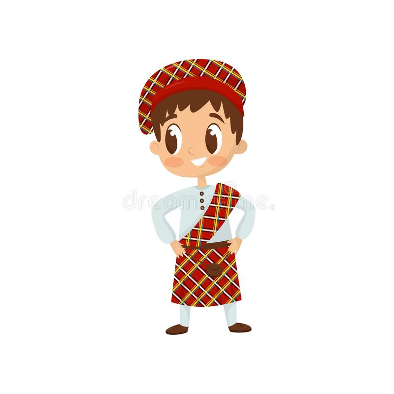 Flat vector icon of little boy in traditional Scottish kilt costume. Child wearing shirt, bright red plaid skirt and hat vector illustration