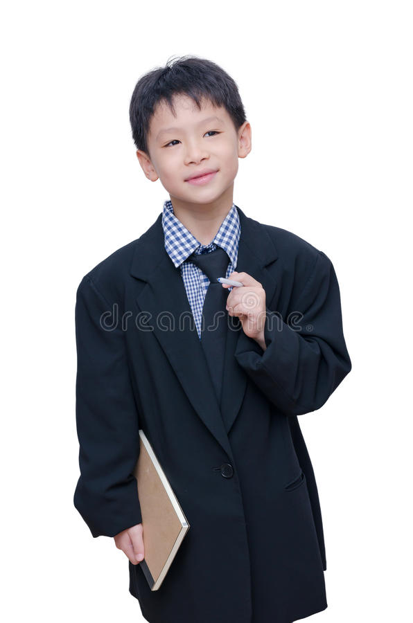 Little boy in big suit royalty free stock photo