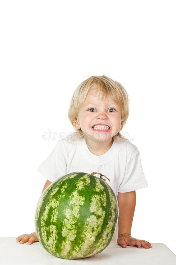 Little boy big watermelon