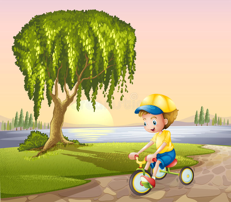 A little boy biking stock illustration