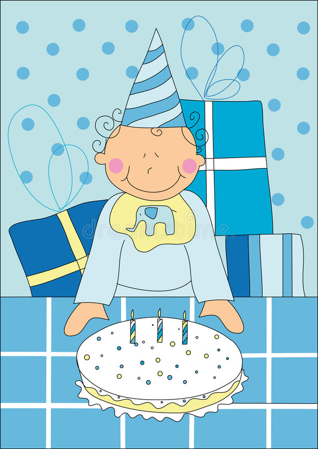 Little boy with birthday cake stock illustration