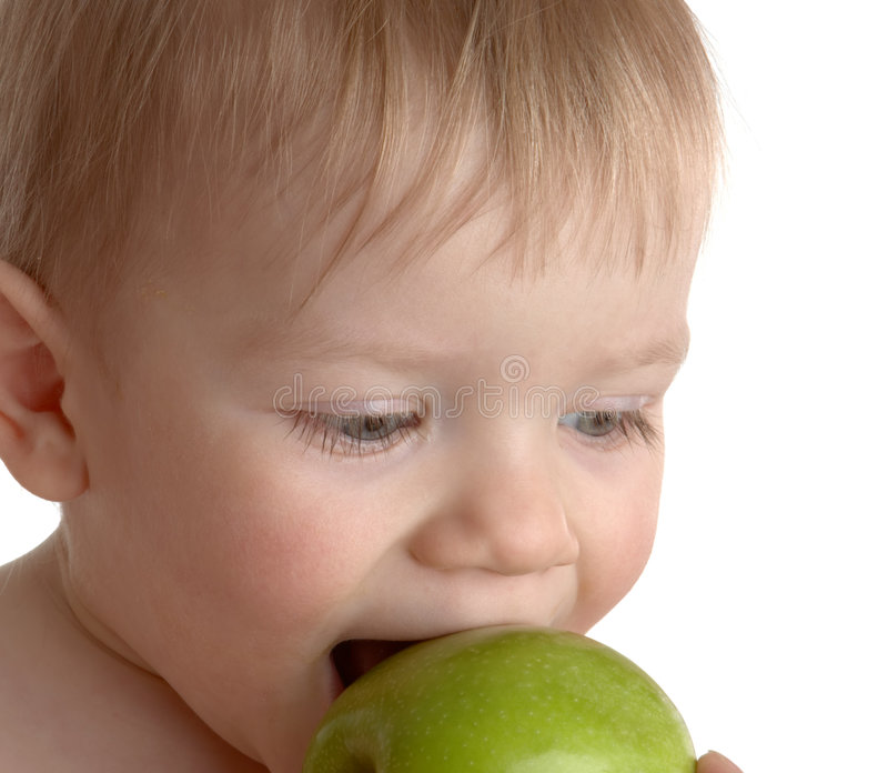 Download Little Boy Bites A Green Apple Stock Image - Image of blue, head: 4738289