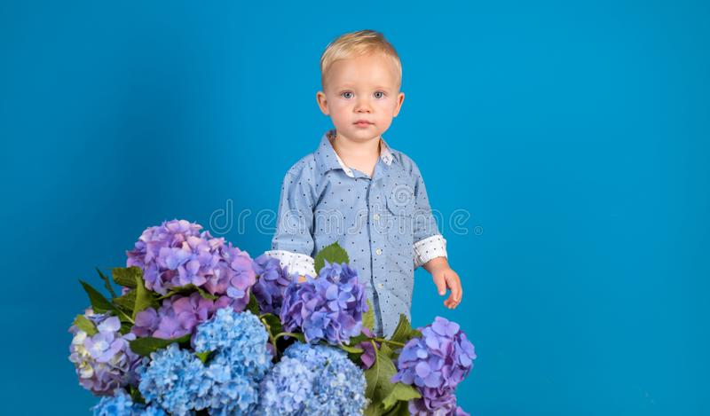 Little boy at blooming flower. Childrens day. Small baby boy. New life concept. Spring holiday. Summer. Mothers or stock photo