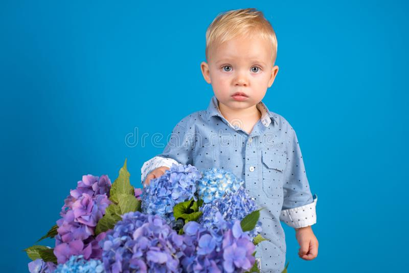 Little boy at blooming flower. Childrens day. Small baby boy. New life concept. Spring holiday. Summer. Mothers or royalty free stock image