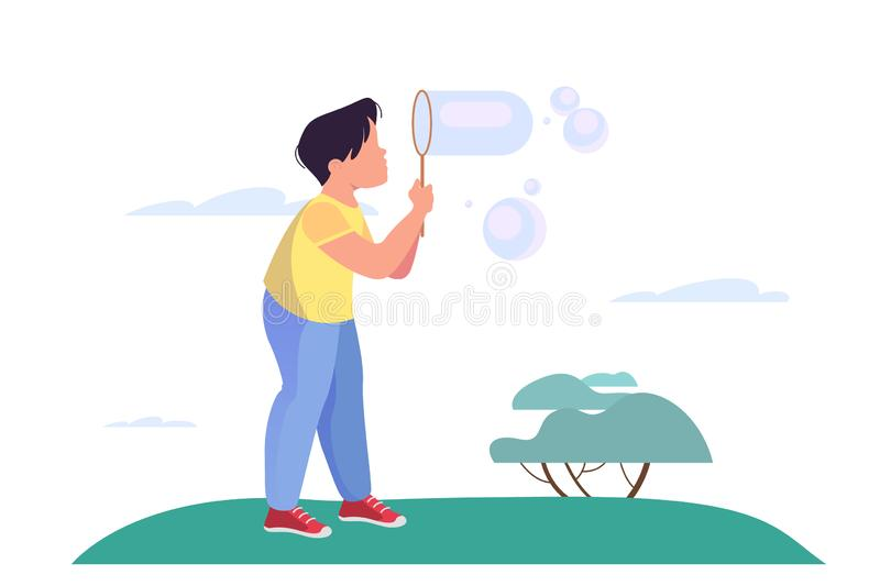 Little boy blowing bubbles. Child play outdoor. Summer royalty free illustration