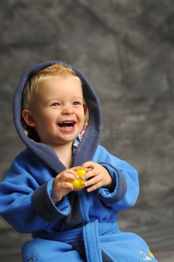 Download Little Boy In Blue Bath Robe Stock Image - Image of charming, bathrobe: 16928861
