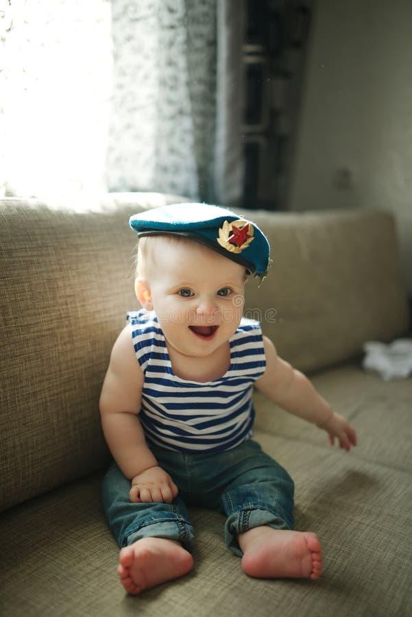Little boy in blue beret portrait stock photography