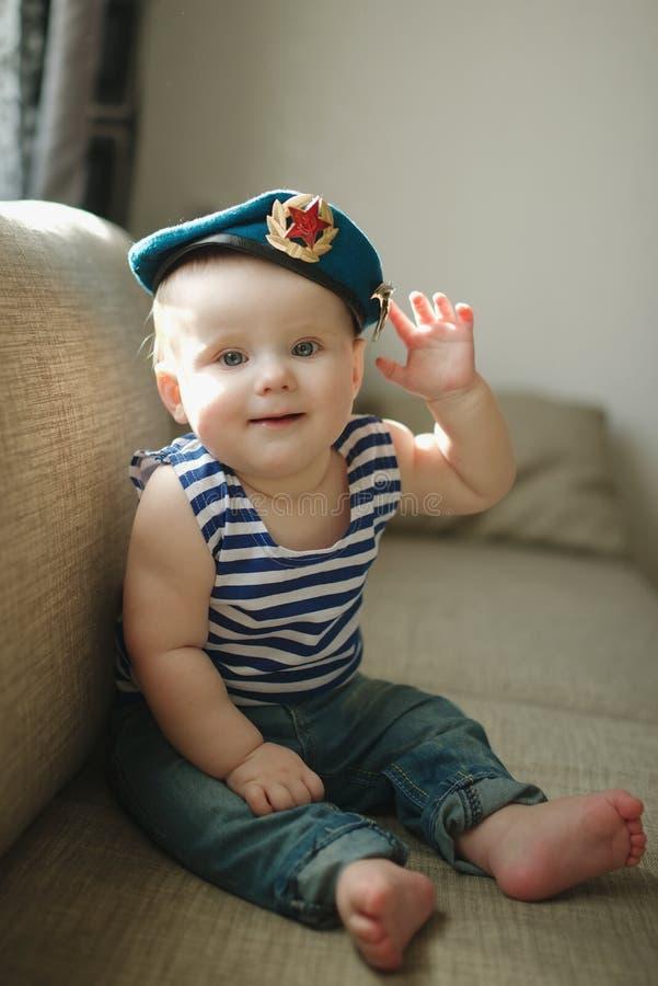 Little boy in blue beret portrait stock photos