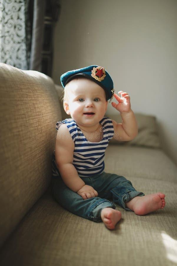 Little boy in blue beret portrait royalty free stock images