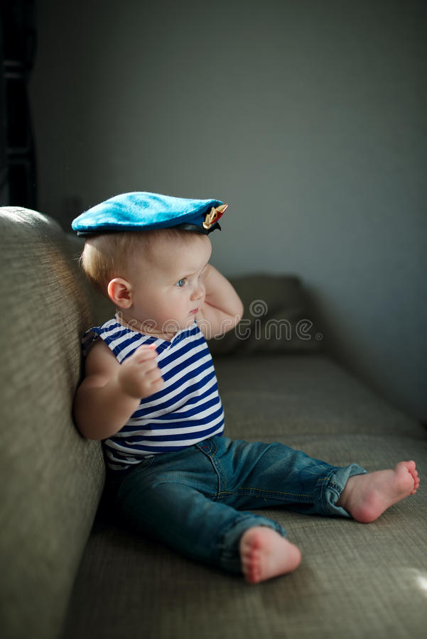 Little boy in blue beret portrait royalty free stock photography