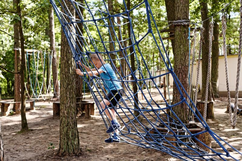 Fun in the rope park royalty free stock photos