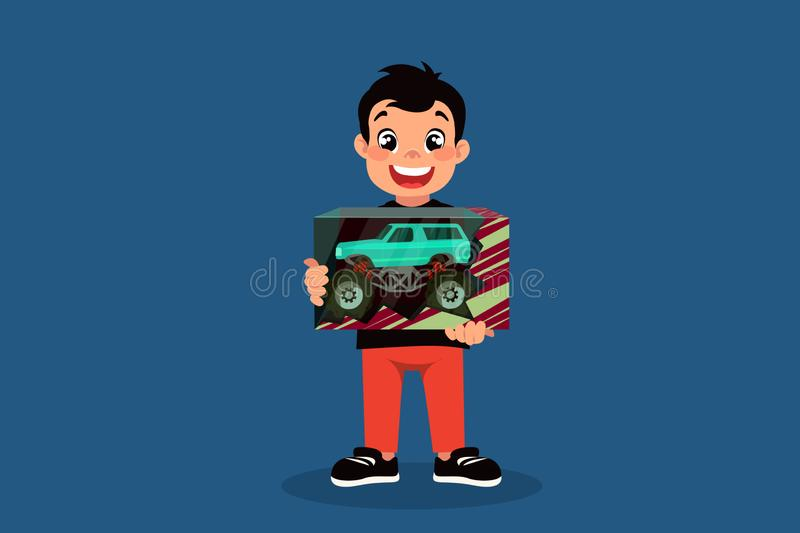Little boy with a blue toy car in a box cartoon design vector illustration