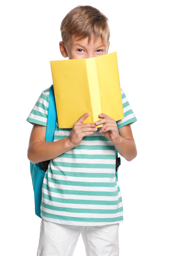 Download Little boy with books stock image. Image of lesson, hardcover - 26800139