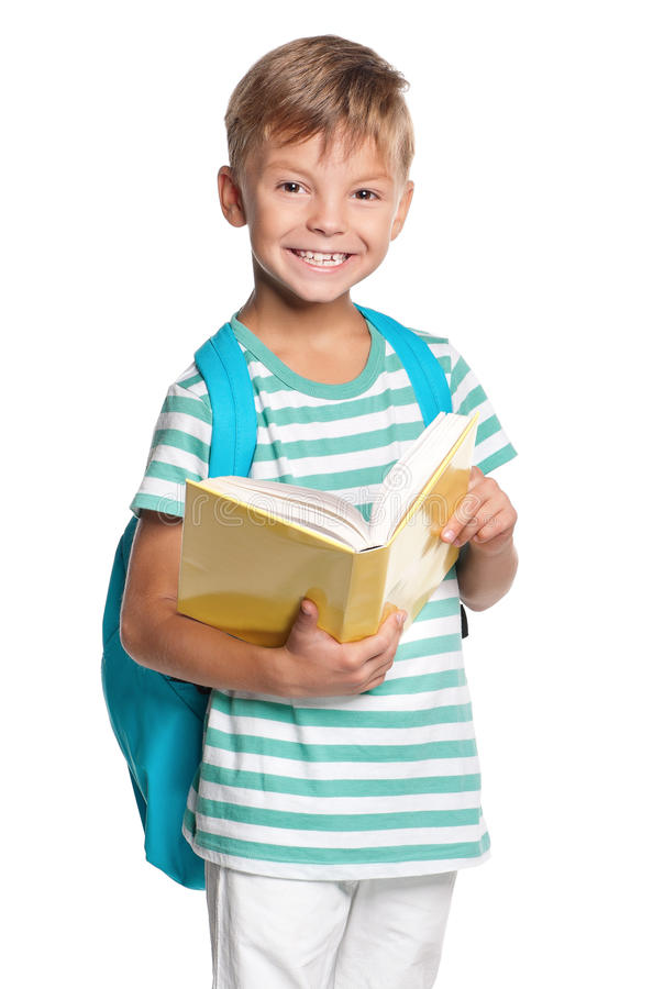Little Boy With Books Royalty Free Stock Images